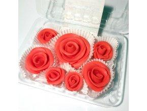 Jedlé květy modelované, ČERVENÉ RŮŽE 6ks