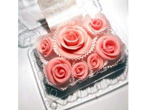 Jedlé květy modelované, RŮŽOVÉ RŮŽE 6ks