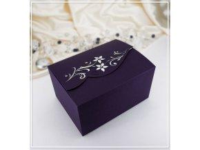 Svatební krabička na výslužku fialová s kamínky (18,5 x 13,5 x 9,5 cm)