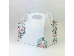 Svatební krabička na výslužku bílá s růžemi (20 x 13 x 11 cm)