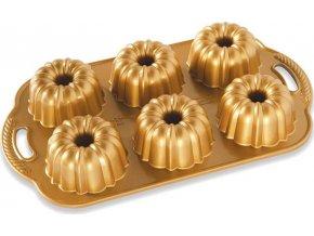 NW Minibábovky Anniversary plát se 6 formičkami zlatá 86277 Nordic Ware