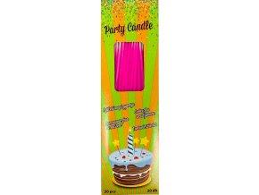 Svíčky tenké dlouhé růžové (20 ks)