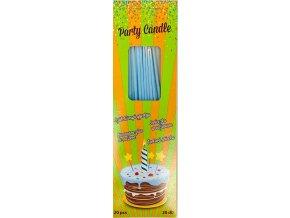 Svíčky tenké dlouhé modré (20 ks)
