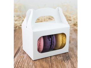 Svatební krabička na makronky bílá (8 x 5,7 x 5,7 cm)