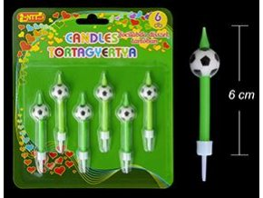 Svíčky s fotbalovými míči (6 ks)