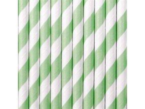 Papírová brčka mint-bílá - 10 ks