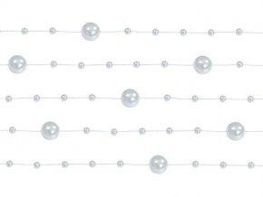 Perlová girlanda stříbrná 130 cm (5 ks)