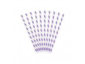 Papírová brčka fialovo-bílá - 10 ks