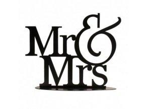 Plechový nápis na dort černý Mr. and Mrs. - Dekora