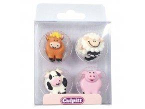 Cukrová dekorace farma kůň, ovečka, kravička a prasátko 12ks - Culpitt
