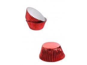 pirottini muffin cupcake in carta da forno metalizzati rossi 50pz 7cm x 45 x 35h