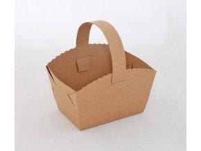 Košíček na svatební koláčky kraftový (9 x 6 x 7 cm)