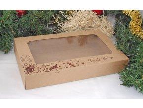 Vánoční krabice na cukroví kraftová s hnědým potiskem (25 x 15 x 3,7 cm) na 500g