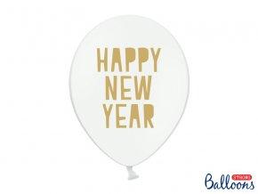 PartyDeco balónky bílé s nápisem Happy New Year (6 ks)
