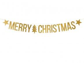 PartyDeco vánoční girlanda zlatá Merry Christmas