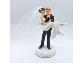 Svatební figurka LUX - novomanželský pár - přes nový práh  LIMITOVANÁ EDICE