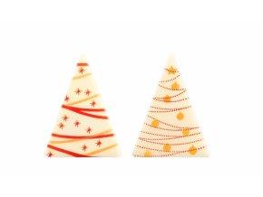 Čokoládová dekorace Trojúhelníky bílo-červené 4,8 cm (15 ks) Neposíláme v balících!