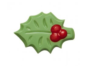 Čokoládová dekorace Cesmína zelená 4,2 cm (15 ks) Neposíláme v balících!