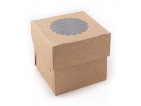 Krabička Cake+vložka na 1 muffin s průhledem 100x100 v.100mm 25 ks/bal