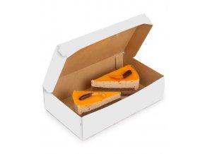 Krabička na zákusky s víkem 230x140 v.60mm, kraft bílý 50 ks/bal