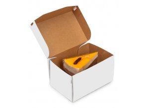 Krabička na zákusky s víkem 150x100 v.85mm, kraft bílý 50 ks/bal