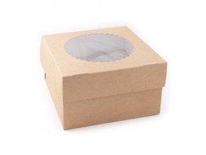 Krabička Cake+vložka na 4 muffin s průhledem 160x160 v.100mm 25 ks/bal