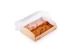 Krabička na zákusky s průhledným víkem185x140 v.55mm 50 ks/bal