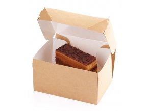 Krabička na zákusky s víkem150x100 v.85mm, kraft 50 ks/bal