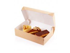 Krabička na zákusky s víkem 230x140 v.60mm, kraft hnědý 50 ks/bal