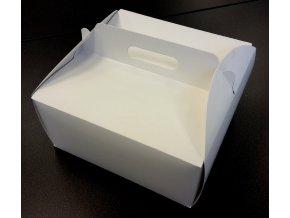 Dortová krabice bílá čtvercová s úchytem (28 x 28 x 14 cm)