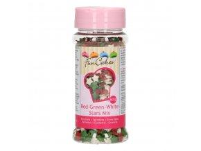 FunCakes Cukrové hvězdičky bílé, červené a zelené (60 g)