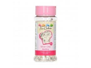 FunCakes Cukrové zdobení bílo-stříbrné Silver Chic Medley (65 g)