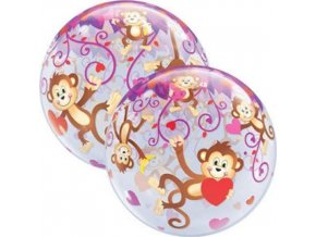 Foliová bublina Opičky se srdíčky 56 cm