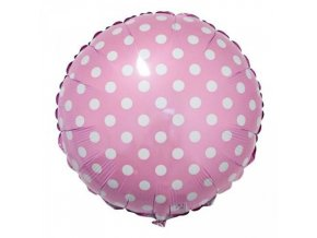 Fóliový balonek růžový s puntíky 45 cm