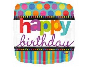 Foliový balonek barevné puntíky a proužky Happy Birthday 43 cm