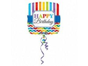 Foliový balonek vlnky a proužky Happy Birthday 43 cm