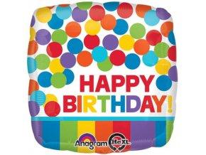 Foliový balonek s puntíky a proužky Happy Birthday 43 cm