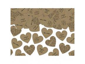 Papírové konfety srdce 3g