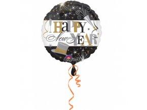 Foliový balonek Happy New Year černobílý 45 cm