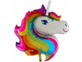 Foliový balonek hlava jednorožce barevný 90 cm