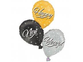 Foliový holografický balonek Happy New Year 90 cm