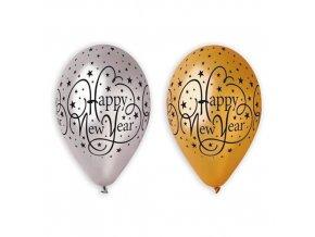 Latexové balonky Happy New Year metalické 6 ks