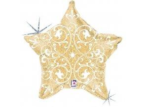 Foliový balonek zlatá hvězda s ornamenty 52 cm
