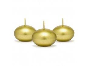Svíčka plovoucí metalická zlatá 4 cm