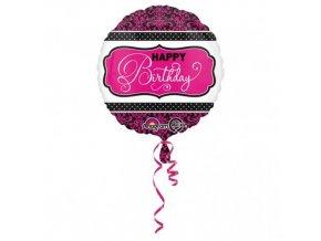 Foliový balonek Pink Chevron Happy Birtday 43 cm