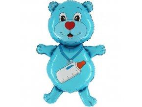 Foliový balonek Medvídek první narozeniny - modrý 95 cm