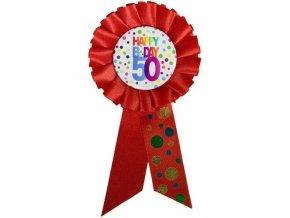 Narozeninový odznak Happy BDay 50