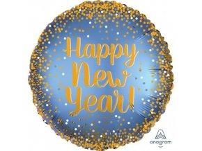 Foliový balonek modrý se zlatými puntíky Happy New Year 43 cm