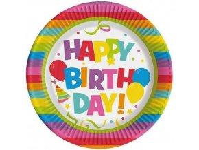 Papírové talíře Happy Birthday 22 cm - 10 ks