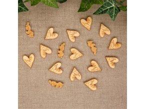 Dřevěné konfety srdce 25 ks